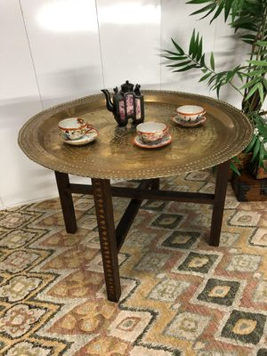 "Decorative India Circular Brass Engraved Tray Coffee or Side End Table 32""xH19"" Item#305 for Sale in Boynton Beach, FL"