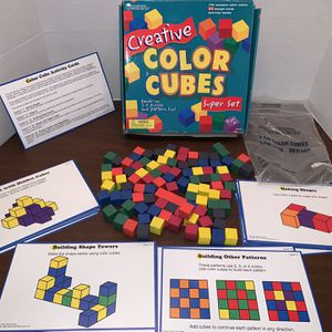 Learning Resources Creative Color Cubes Super Set With Activity Cards And Wooden Blocks Kids Girls Boys Educational School Toy for Sale in San Diego, CA