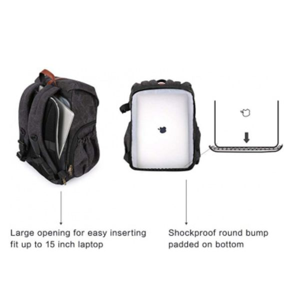 BAGSMART CAMERA BACKPACK, ANTI-THEFT DSLR SLR CAMERA BAG WATER RESISTANT CANVAS BACKPACK FIT UP TO 38CM LAPTOP WITH RAIN COVER TRIPOD HOLDER