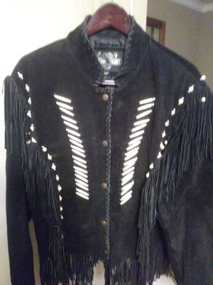 MEN'S XXL BLACK, BONE and BEADED ACCENTS & FRINGED SUEDE LEATHER JACKET for Sale in Simpsonville, SC