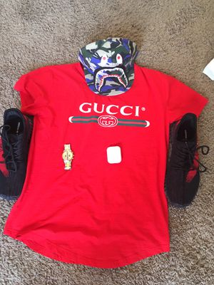 Gucci shirt/watch, yeezys, bape hat and AirPods for Sale in Dallas, TX