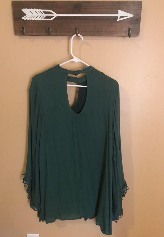Small jewel green tunic dress