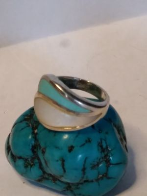 Inlaided mother of pearl Sterling silver size 6+1/2 ring for Sale in Willow Street, PA