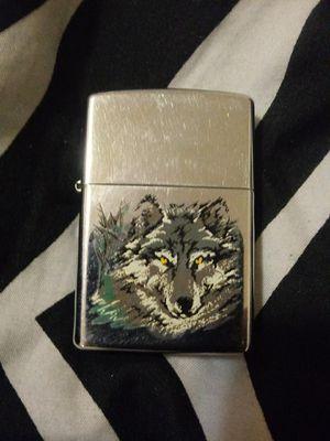Silver Wolf Zippo Lighter w/ leather cigg case & lighter fluid for Sale in Cincinnati, OH