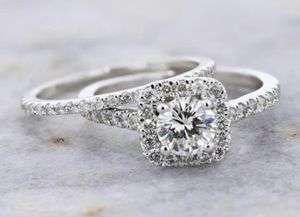 Silver Wedding Rings Set Natural White Sapphire for Sale in Wichita, KS