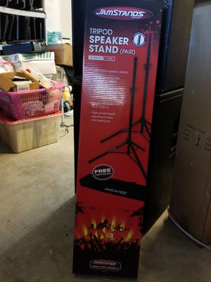 Jamstands Tripod Speakers Stand 1 Pair with carrying case New in the box Aluminum light weight.. for Sale in Miami Gardens, FL