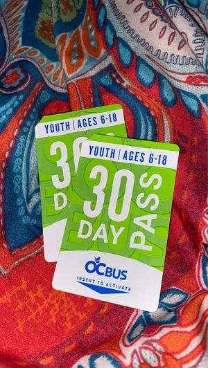 30 day OCBus pass ages 6-18 for Sale in Cypress, CA