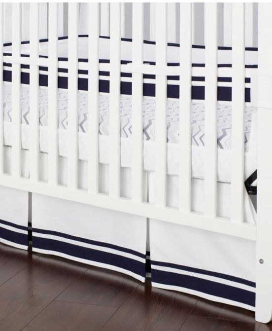 Crib skirt with navy stripes
