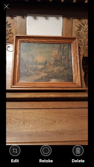 VINTAGE COUNTRY COTTAGE SCENE--SOLID OAK FRAME for Sale in Lynchburg, VA