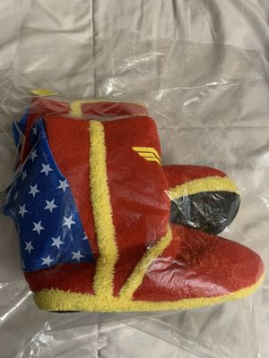 DC Comics Wonder Woman Caped Shoes Boot Slippers NEW Color: Red/Blue/Yellow. Original 1940 Theme. Comfy for everyday wear. Size: 8.5-9.5. 10 inches i for Sale in San Antonio, TX