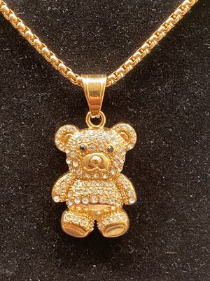 Gold stainless steel bear pendant with chain for Sale in Riverdale, GA