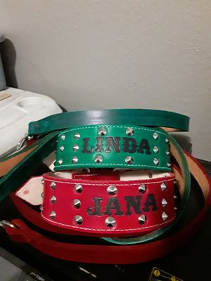 Dog collars 100%leather S,M,L,XL custom with dog name #leather (collar para perro grandes resistentes todas las medidas puro cuero) for Sale in Dallas, TX