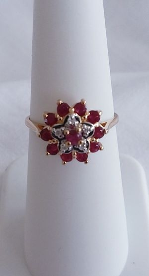 Stunning Ruby and diamond ring 14 karat yellow gold retail price $700 my price $249! for Sale in Grand Rapids, MI