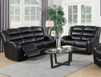 🎊Oniks Black Reclining Sofa & Loveseat & Recliner | U9400 by Global for Sale in Baltimore,  MD