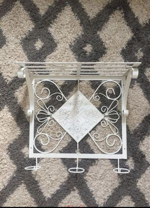Antique shabby chic iron coat rack / shelf for Sale in Tacoma, WA