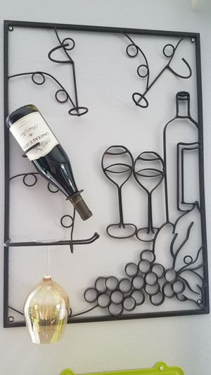 Wall Wine Bottle and glass holder for Sale in Tualatin, OR