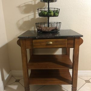 Rolling Kitchen Table With Marble . for Sale in Rosenberg, TX