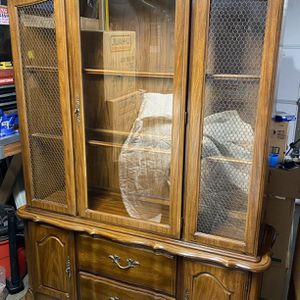 Vintage Two Piece Lighted China Cabinet for Sale in Battle Ground, WA