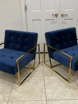 Brand New Set Of Blue Velvet Accent Chairs, Retails For Over $900 for Sale in Fowler,  CA
