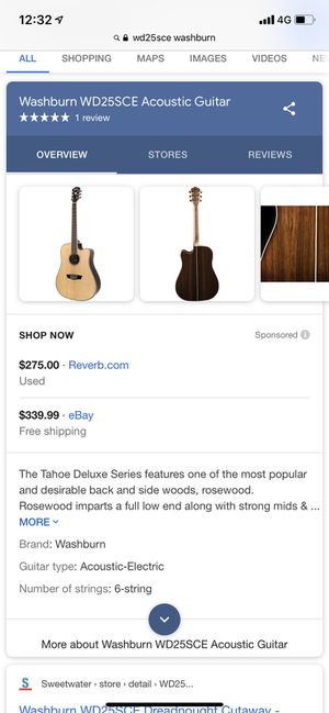 Washburn Acoustic Electric Guitar, Case, Stand for Sale in Montclair, CA