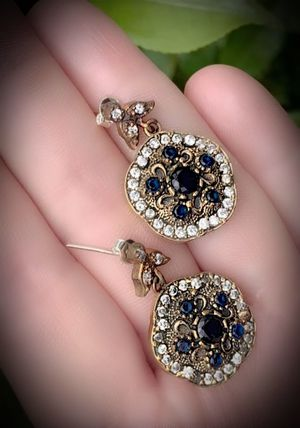 MIDNIGHT SAPPHIRE FINE ART DANGLE EARRINGS Solid 925 Sterling Silver/Gold WOW! Brilliantly Faceted Round Cut Gems, Diamond Topaz N197 V for Sale in San Diego, CA