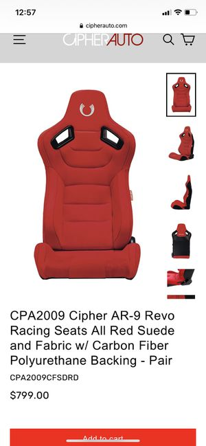 Cipher auto racing seat pair universal for Sale in Hesperia, CA