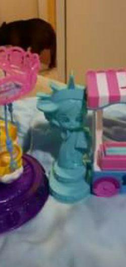 Barbie Dreamtopia Carousel & Shopkins Hot Dog Stand for Sale in Stockton,  CA