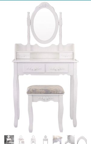 Tobbi White Vanity Wood Makeup Dressing Table Stool Set Bathroom Mirror 4 Drawer for Sale in Washington, DC