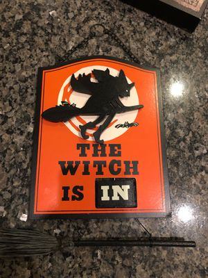 The witch is in / out wooden Halloween sign decoration decor for Sale in Murrieta, CA