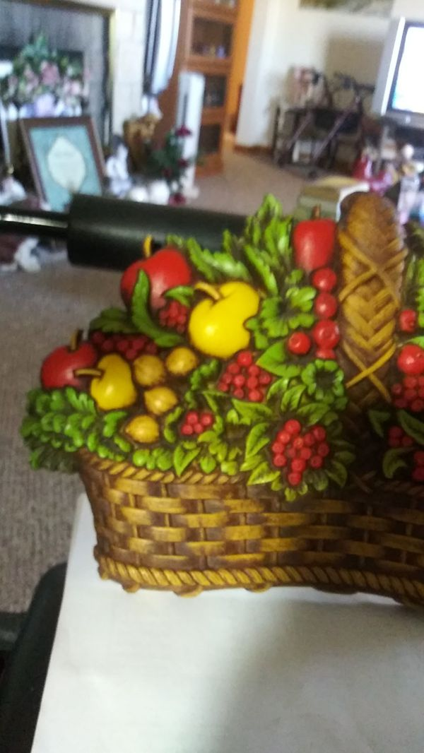 Vintage Homco Fruit Basket Wall Hanging Made In U S A By