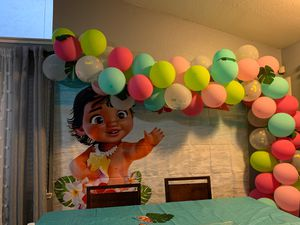 Baby Moana balloon arch & backdrop for Sale in Acampo, CA