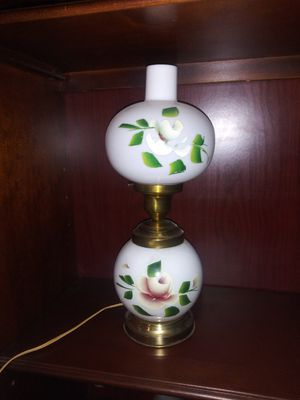 This was Grandma's (60+ years old) milk glass, hand-painted lamp. A rose on each globe. In great working order. Very bright. for Sale in Tacoma, WA
