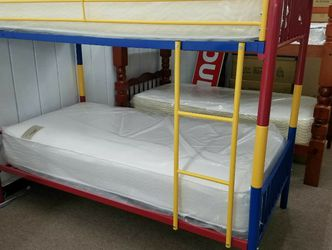 FREE Local Curbside Delivery Twin Twin Multicolor Bunk Bed With Mattresses for Sale in College Park,  MD