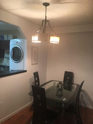 Glass Dinnette set with 4 chairs and computer desk for Sale in Falls Church, VA