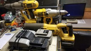Dewalt 24V, Two Drills, One reciprocating Saw, Four Batteries, One Charger for Sale in Dyer, IN