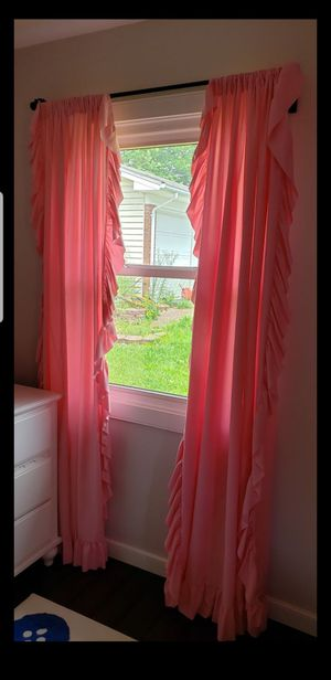 Pink ruffle curtains 4 panels for Sale in Fairfax, VA