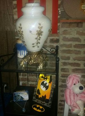 Antique opalescent glass vase with raised brass flowers for Sale in Dundalk, MD