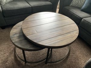Brown round nesting coffee tables and Brown round table for Sale in Mount Pleasant, MI