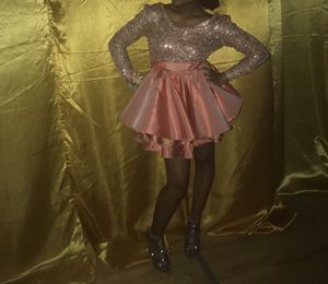 Custom made prom dress .. long sleeve pink and gold dress (short) size 8 for Sale in Owings Mills, MD