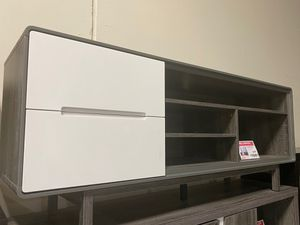 Tv Stand with 2 Drawers, Distressed Grey & White for Sale in Santa Fe Springs, CA