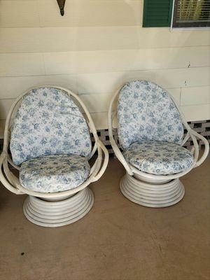 2 white bamboo swivel chairs naples for Sale in Naples, FL