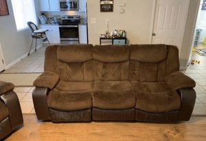 RECLINING SOFA SET WITH ROCKING CHAIR for Sale in Turlock, CA