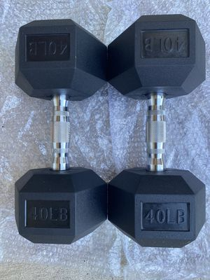New 40lb Hex Rubber Dumbbell Set for Sale in Hacienda Heights, CA