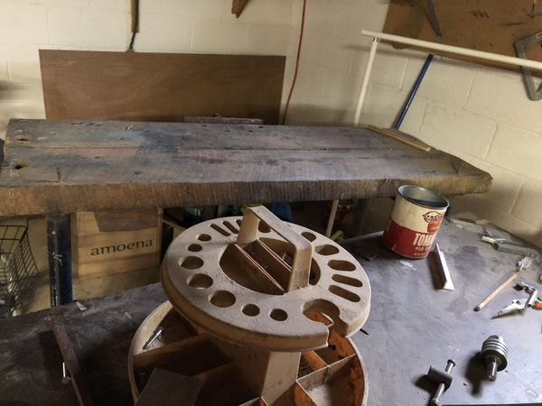 Various wooden work benches, shelves, saw and shelves. Excellent Prices!