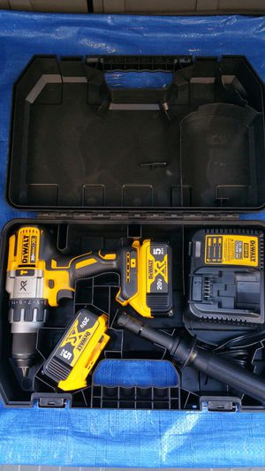 $250. DEWALT 20-Volt MAX XR Lithium-Ion Cordless Premium Brushless Hammer Drill with (2) Batteries 5.0Ah, Charger and Hard Case for Sale in Evergreen, CO
