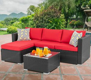 Red Outdoor Rattan Sectional Sofa- Patio Wicker Furniture Poolside, Garden, Backyard, Porch, Balcony for Sale in Woodland Hills, CA
