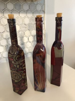 Painted glass decorative bottles for Sale in Chicago, IL