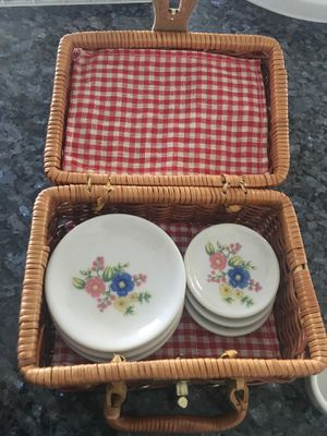 Mini glass tea set with basket for Sale in Denver, CO