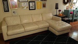 Italsofa White Leather Sectional with Storage and Sleeper Sofa for Sale in Hialeah, FL
