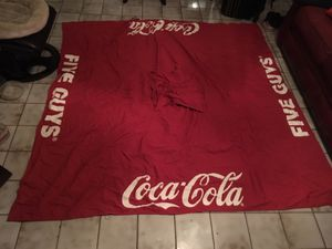 Big tent carp Coca Cola a five guys biggg u just need the sticks for each corner and stand selling $25 perfect condition perfect for backyard or busi for Sale in Doral, FL